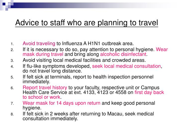 Advice to staff who are planning to travel
