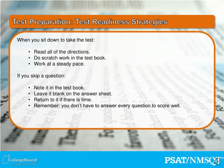 Test Preparation: Test Readiness Strategies