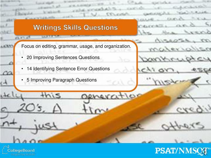 Writings Skills Questions