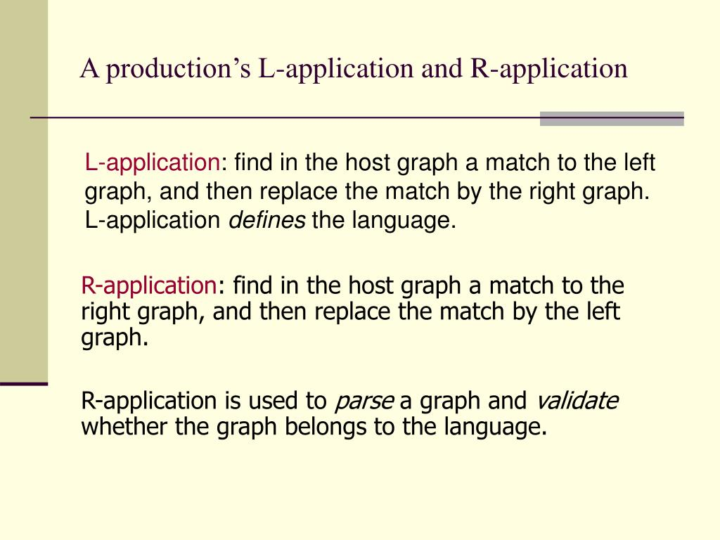 A production's L-application and R-application
