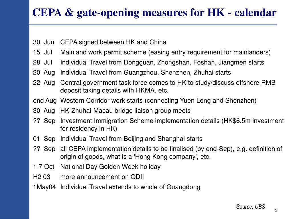 CEPA & gate-opening measures for HK - calendar