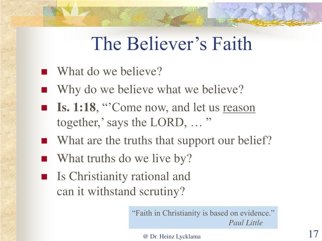 The Believer's Faith