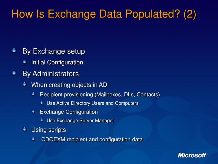 How Is Exchange Data Populated? (2)