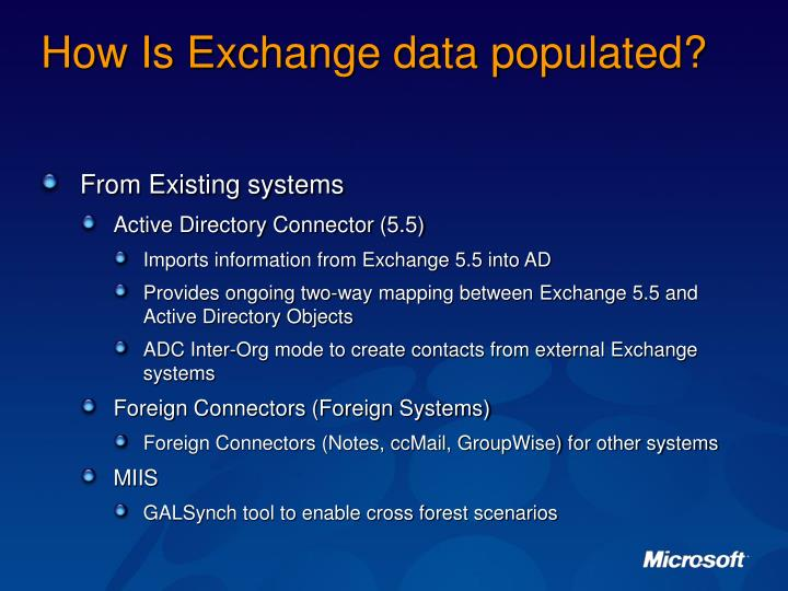 How Is Exchange data populated?