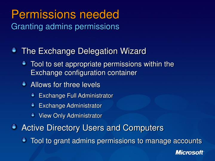 Permissions needed