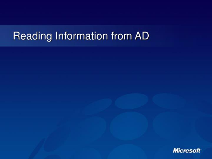Reading Information from AD