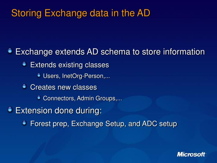 Storing Exchange data in the AD