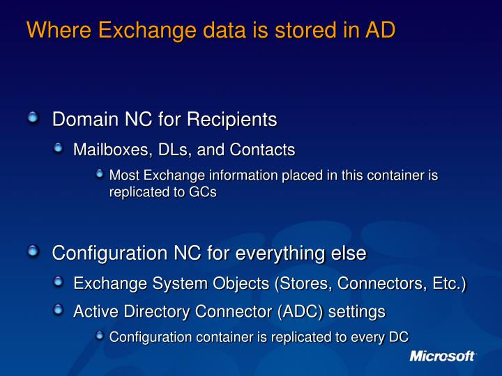 Where Exchange data is stored in AD