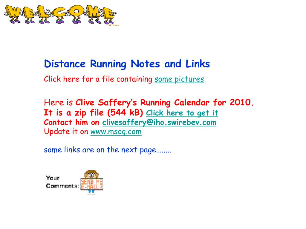 Distance Running Notes and Links