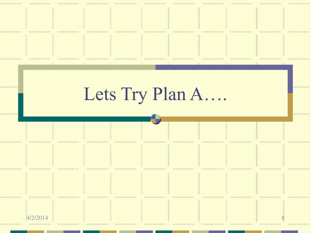 Lets Try Plan A….