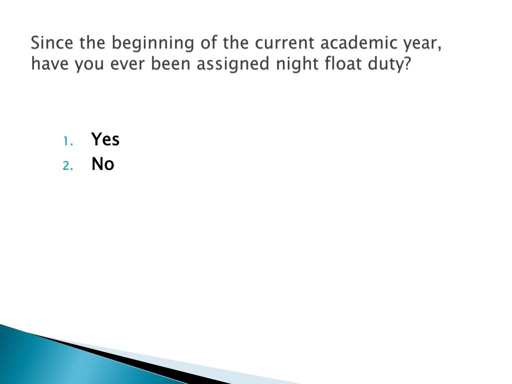 Since the beginning of the current academic year, have you ever been assigned night float duty?