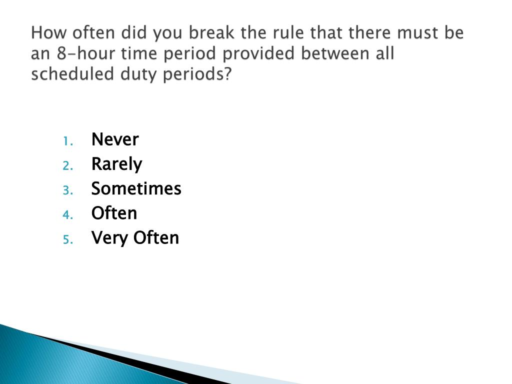 How often did you break the rule that there must be an 8-hour time period provided between all scheduled duty periods?