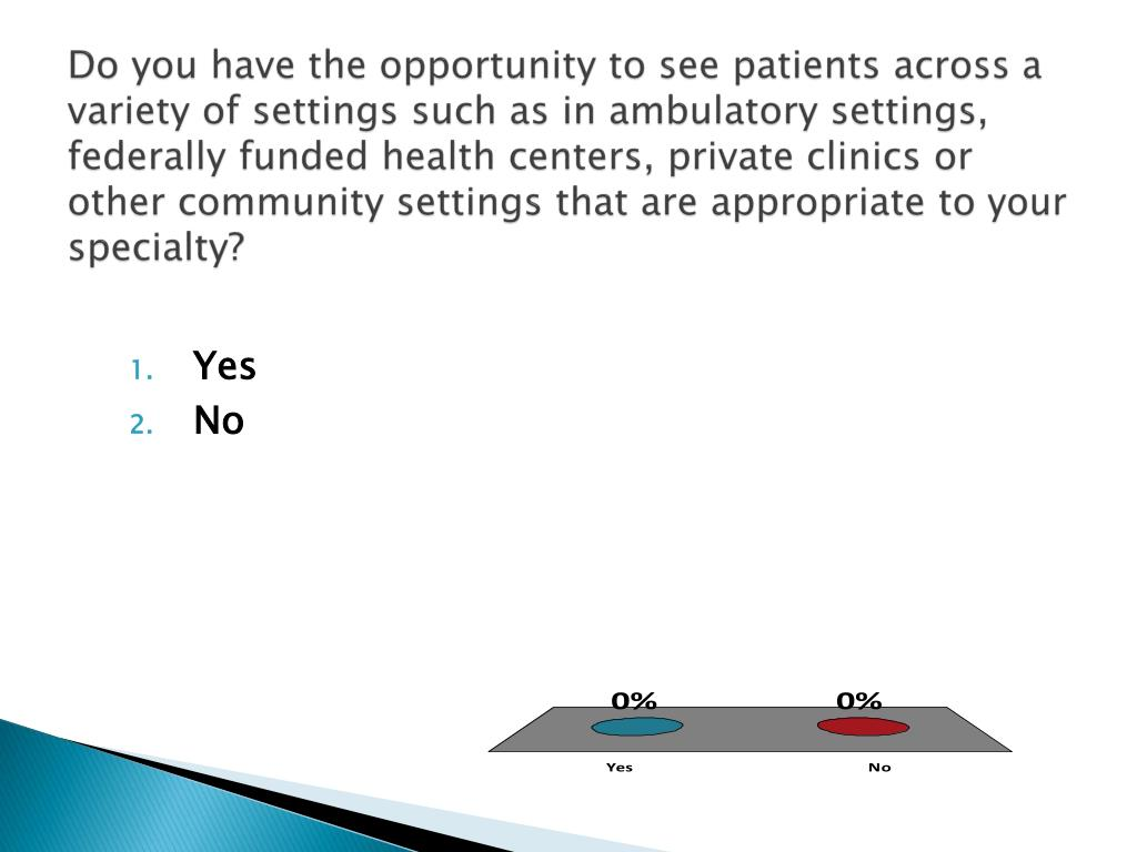 Do you have the opportunity to see patients across a variety of settings such as in ambulatory settings, federally funded health centers, private clinics or other community settings that are appropriate to your specialty?