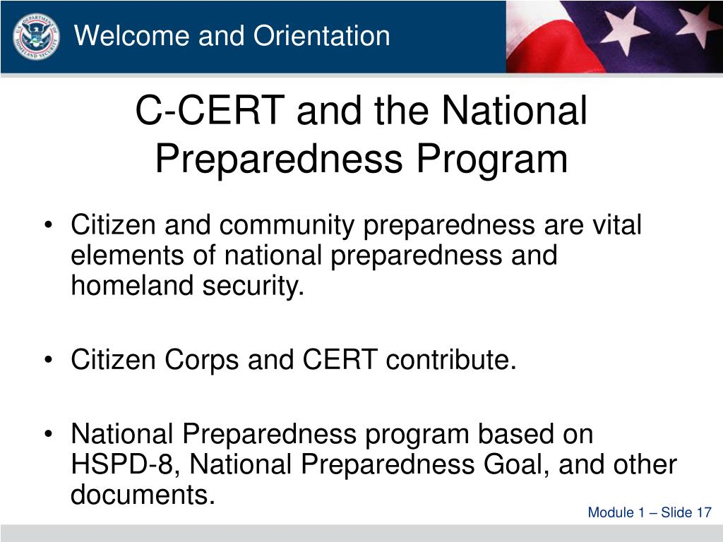 C-CERT and the National Preparedness Program