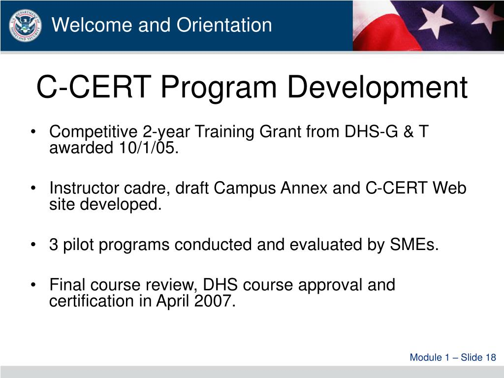 C-CERT Program Development