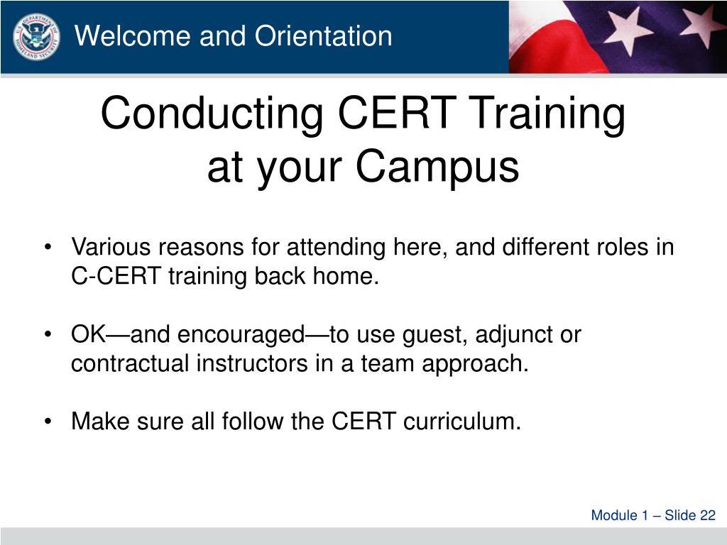 Conducting CERT Training