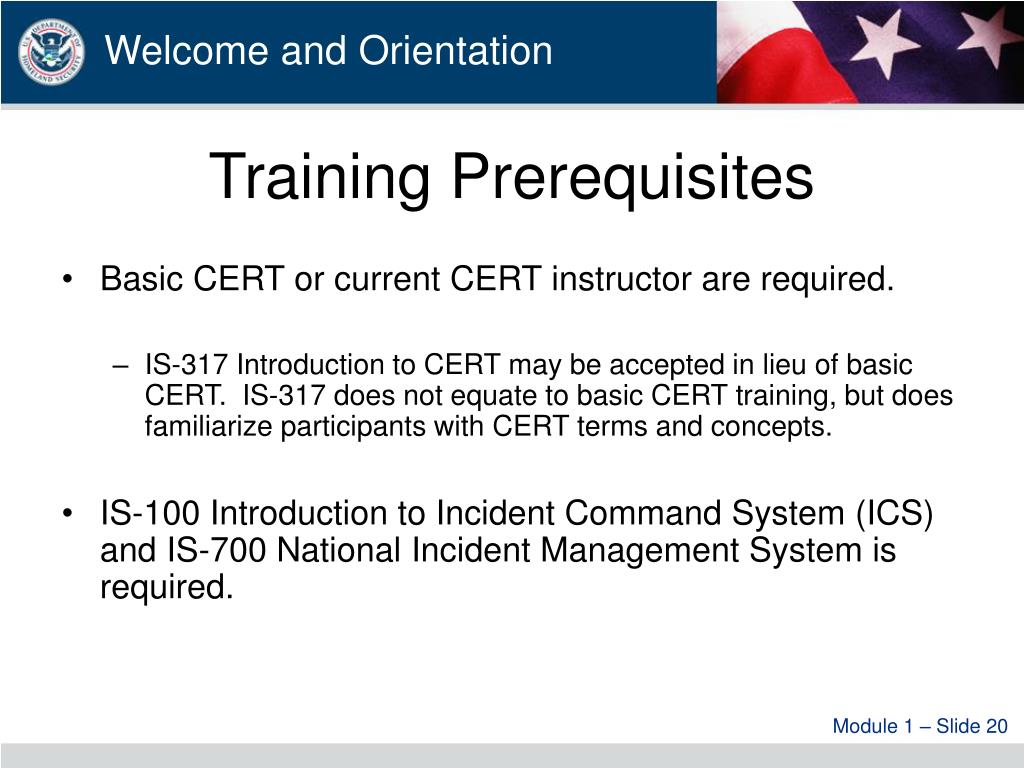 Training Prerequisites