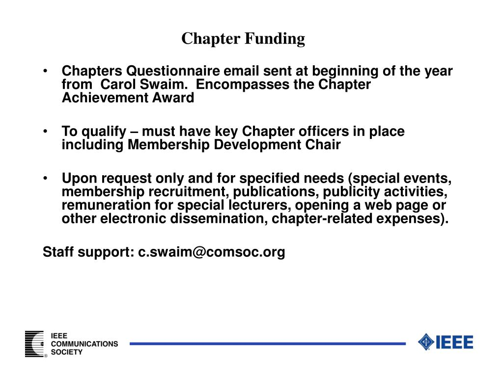 Chapter Funding