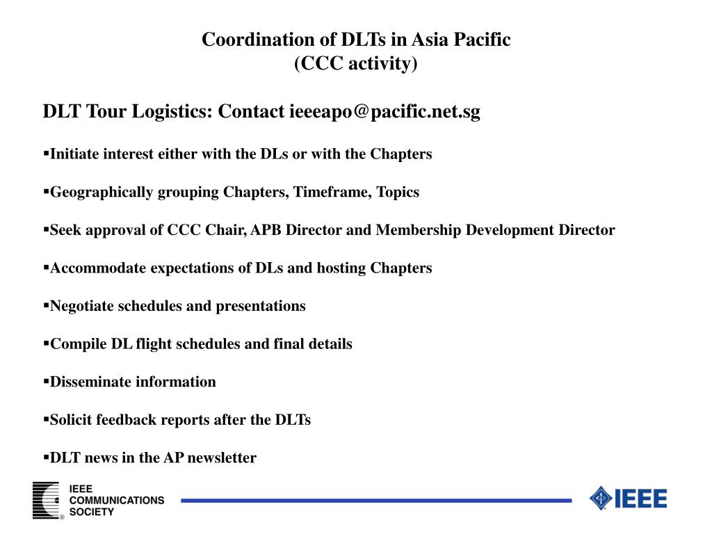 Coordination of DLTs in Asia Pacific