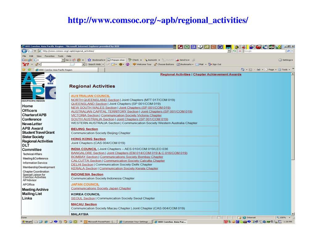 http://www.comsoc.org/~apb/regional_activities/