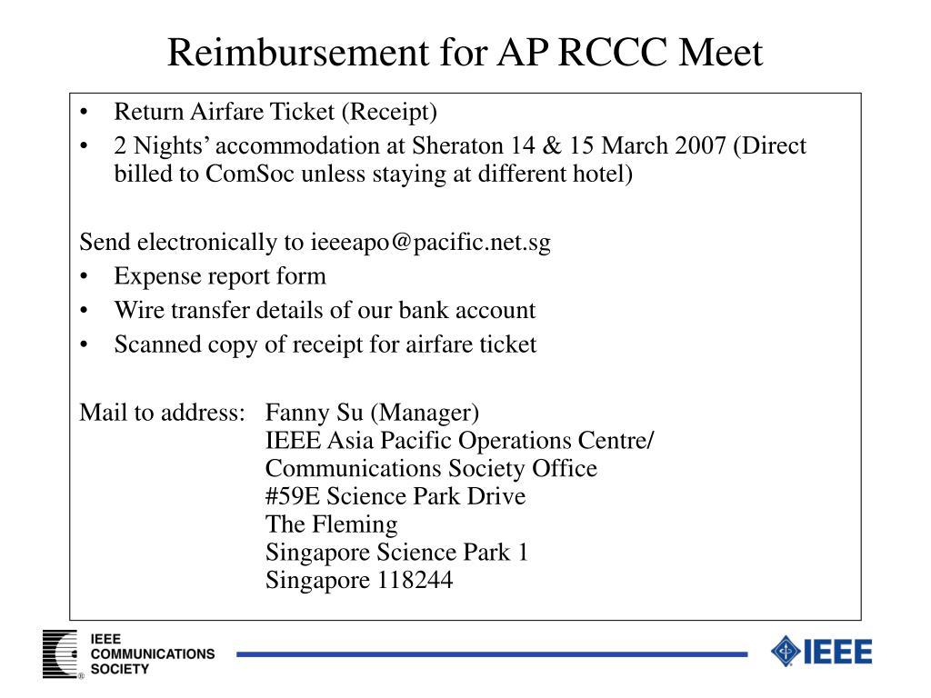 Reimbursement for AP RCCC Meet