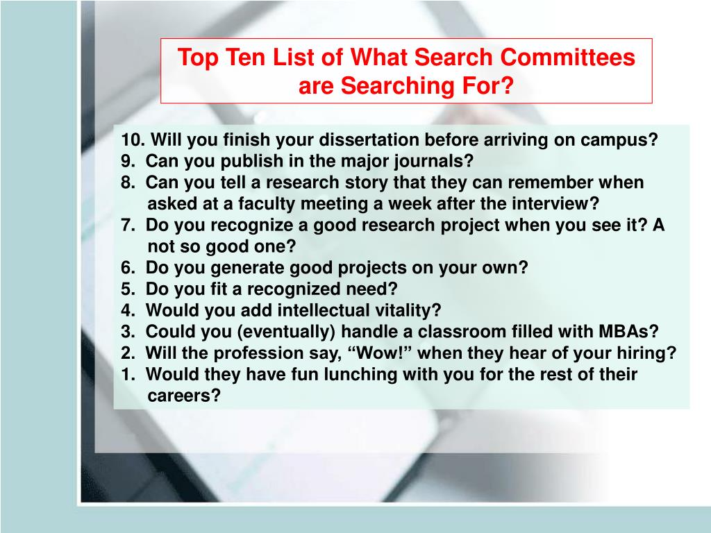 Top Ten List of What Search Committees are Searching For?