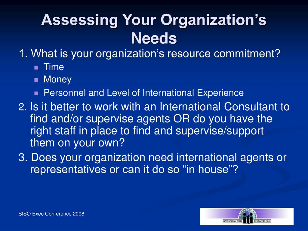 Assessing Your Organization's Needs