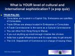 what is your level of cultural and international sophistication a pop quiz