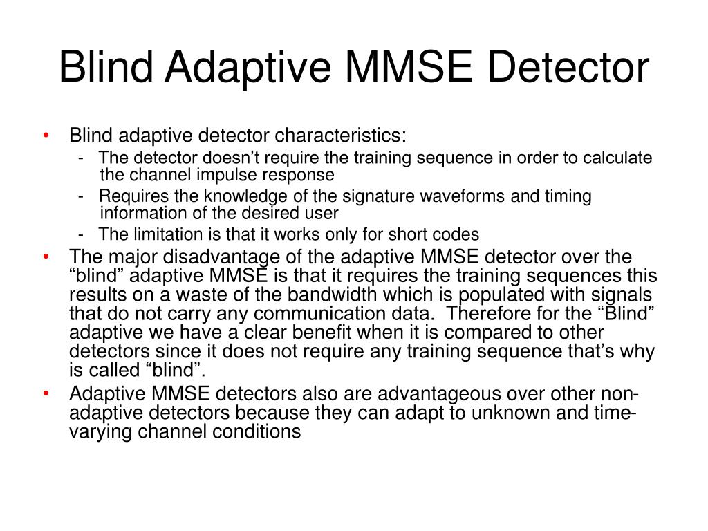 Blind Adaptive MMSE Detector