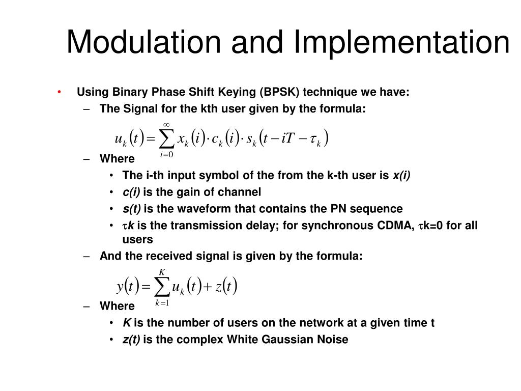 Modulation and Implementation