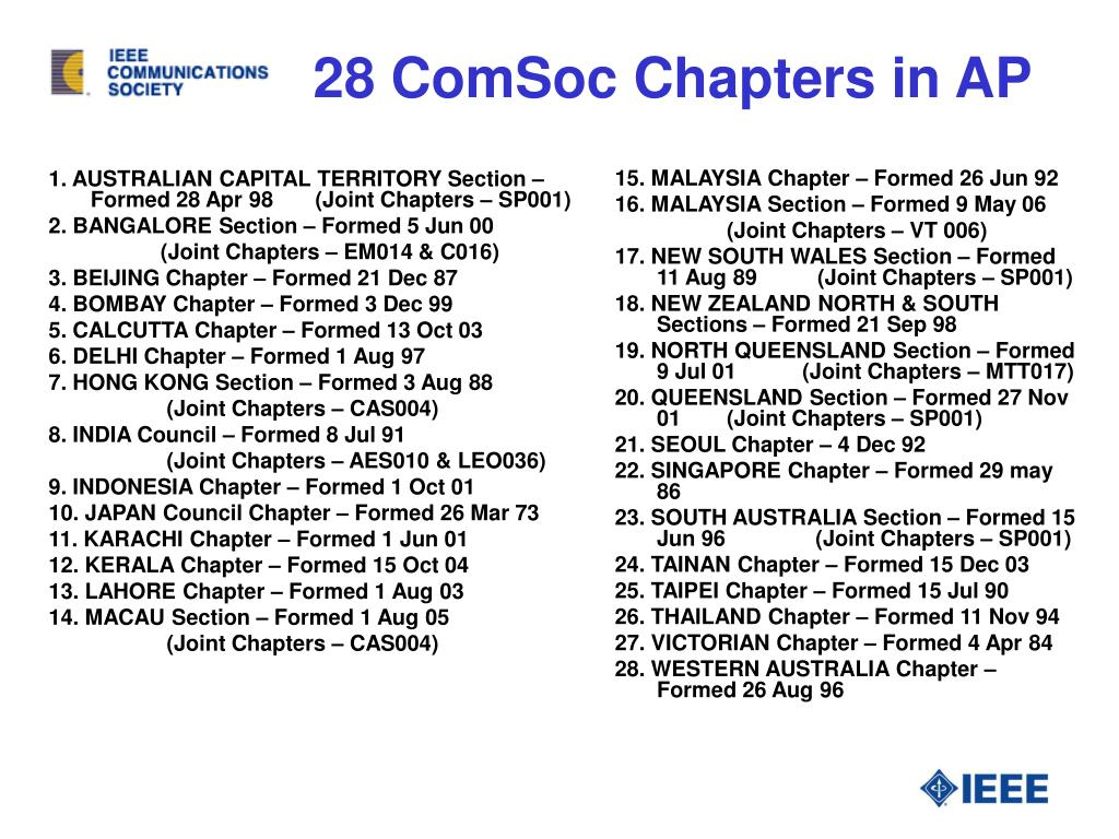 28 ComSoc Chapters in AP