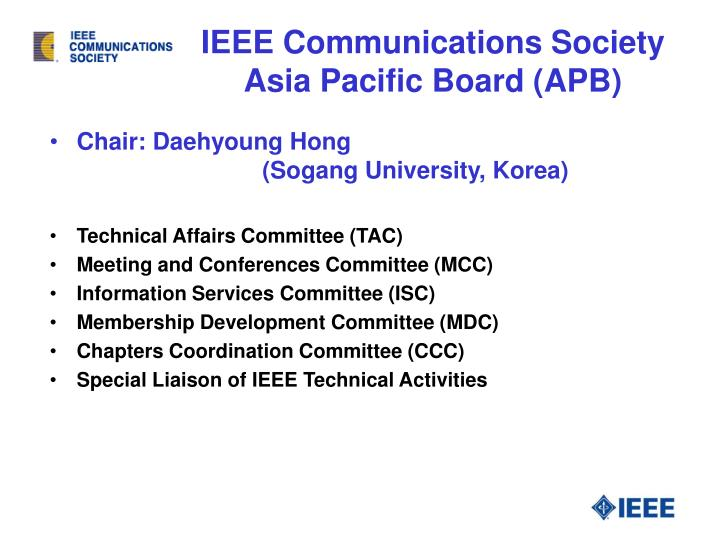 Ieee communications society asia pacific board apb