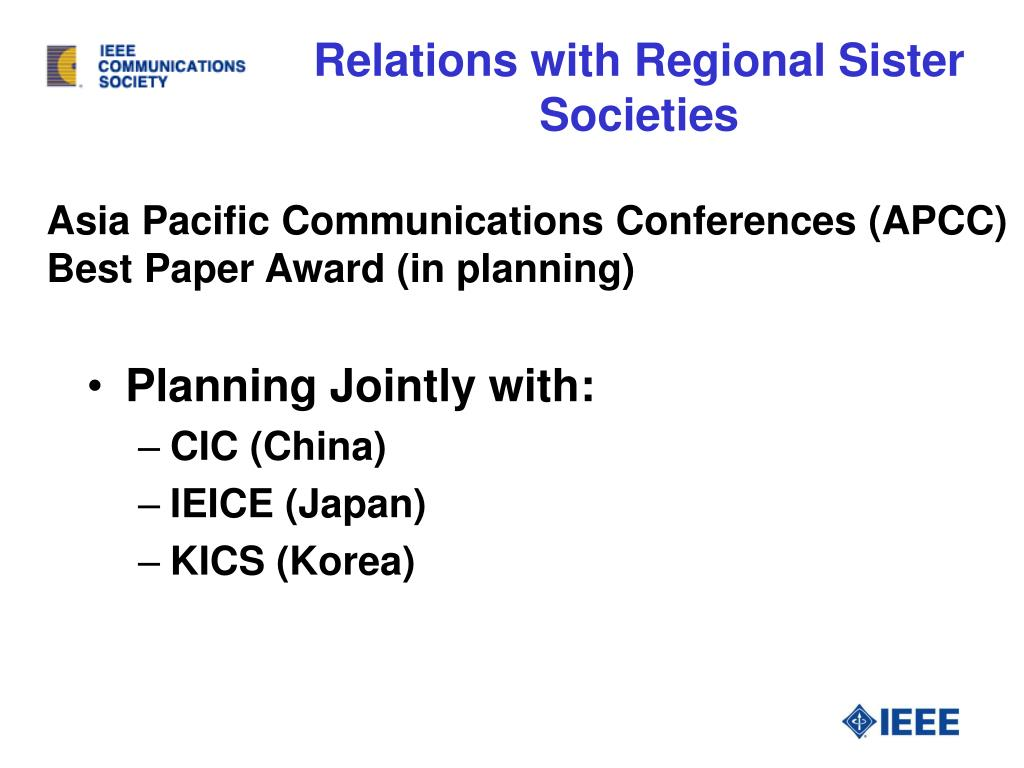Relations with Regional Sister Societies