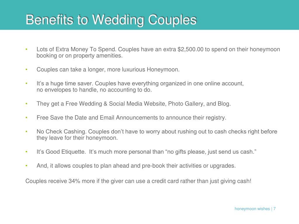 Benefits to Wedding Couples