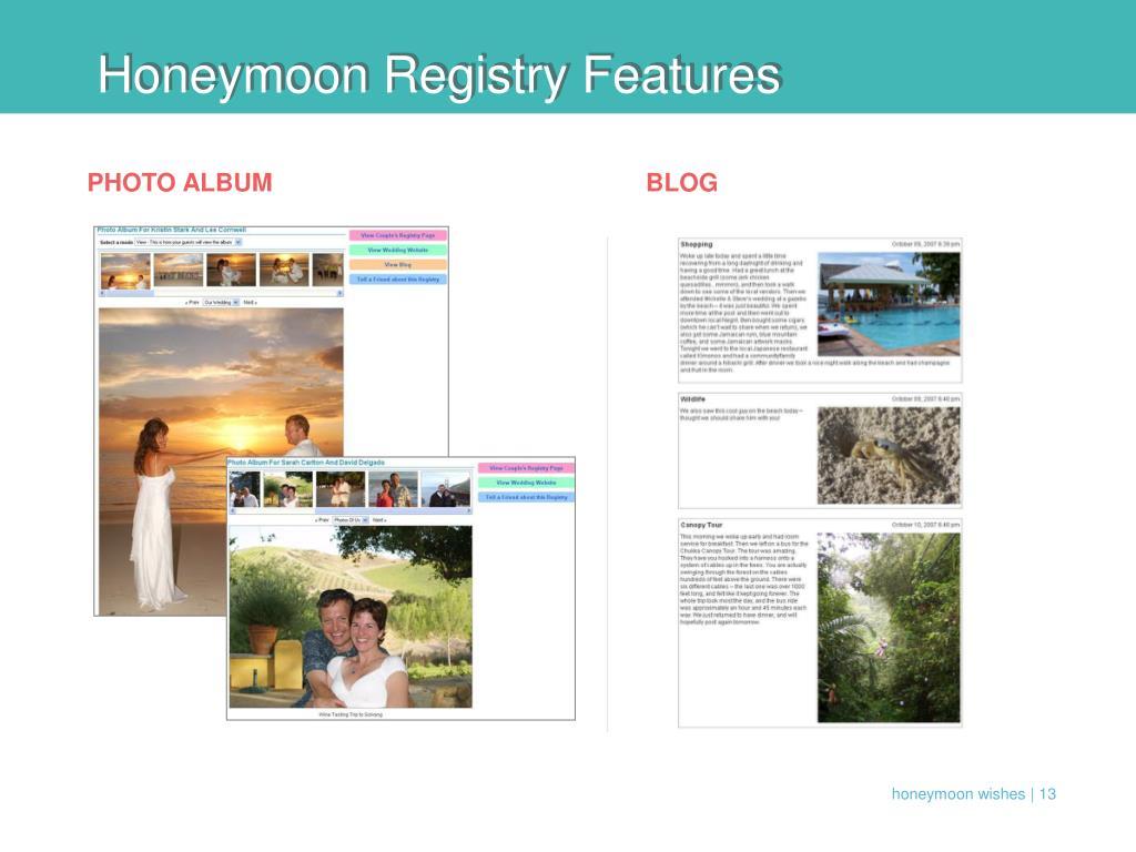 Honeymoon Registry Features