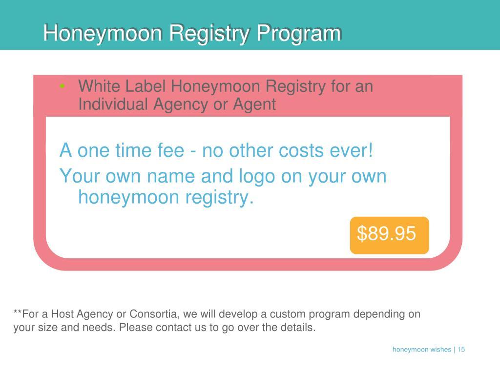 Honeymoon Registry Program
