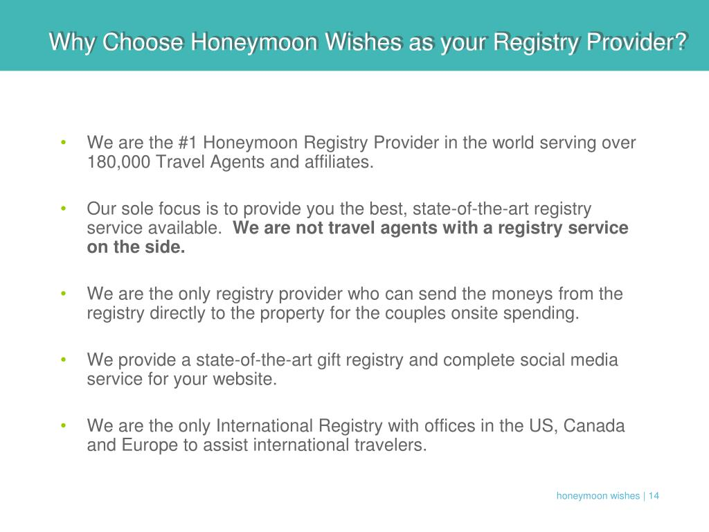Why Choose Honeymoon Wishes as your Registry Provider?