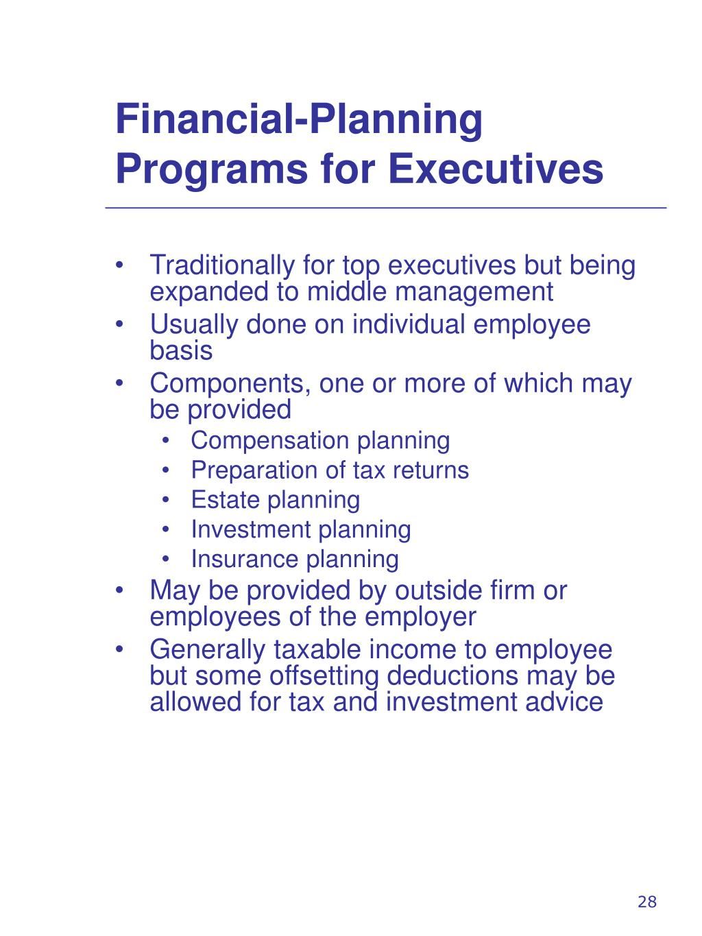 Financial-Planning Programs for Executives