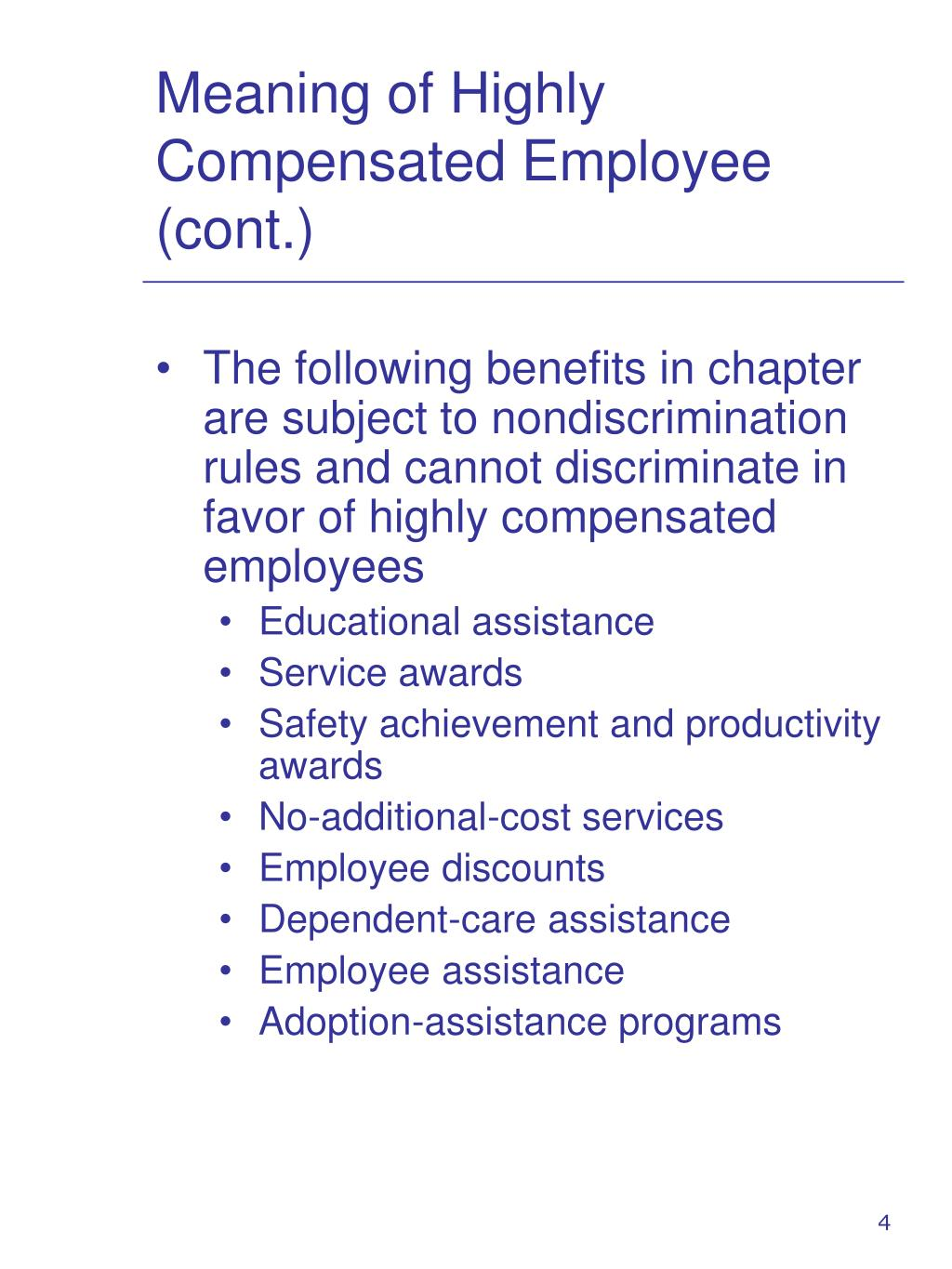 Meaning of Highly Compensated Employee (cont.)