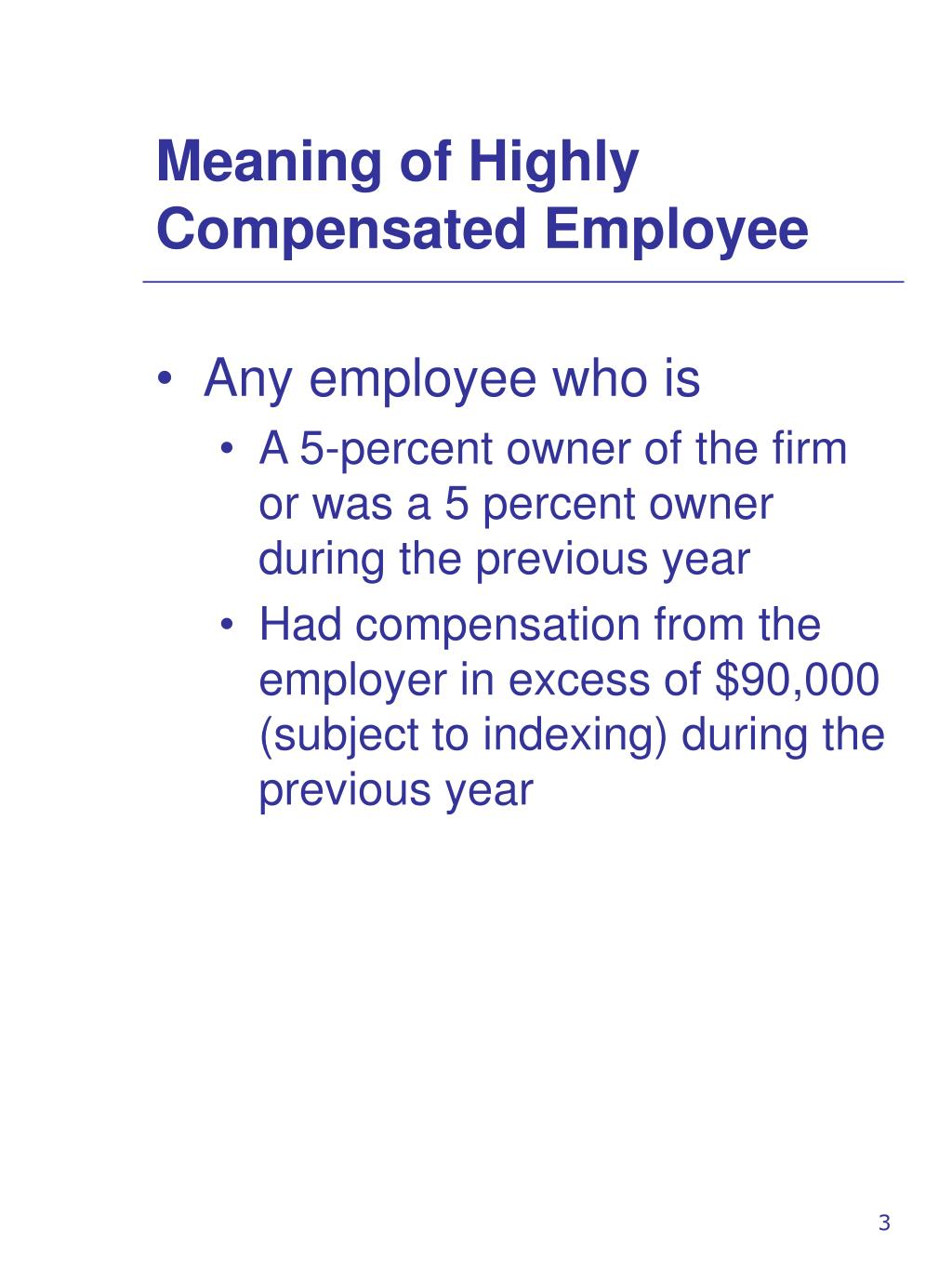 Meaning of Highly Compensated Employee