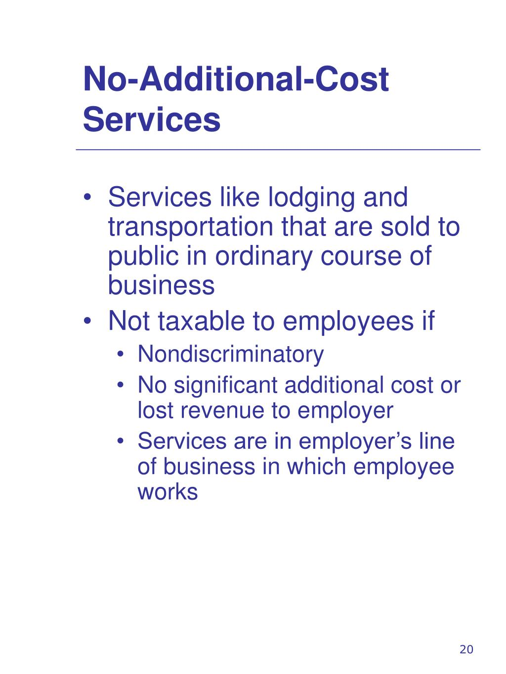 No-Additional-Cost Services
