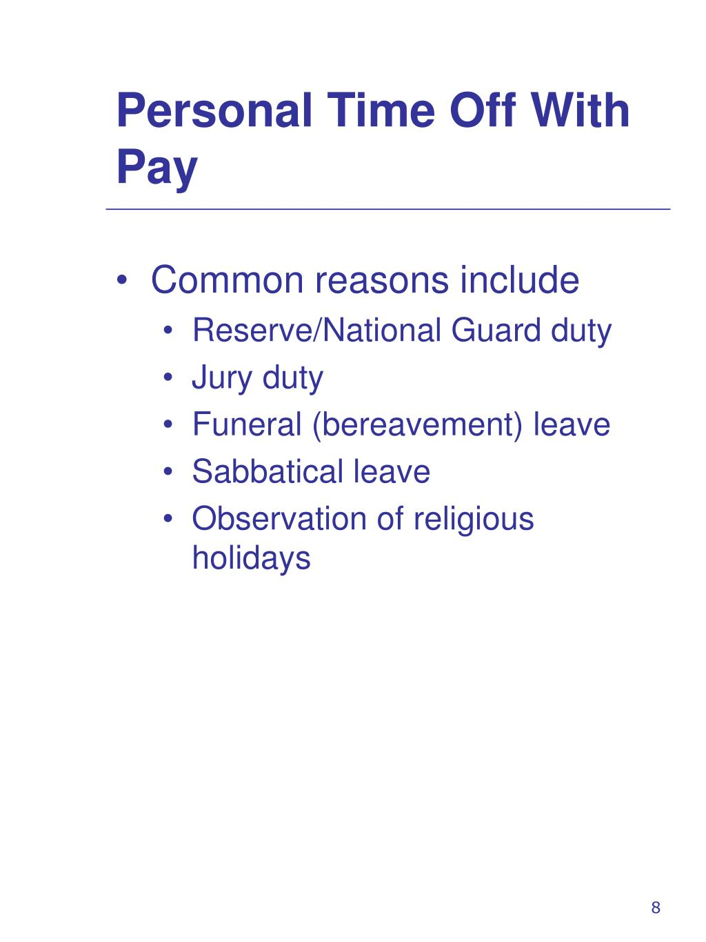 Personal Time Off With Pay