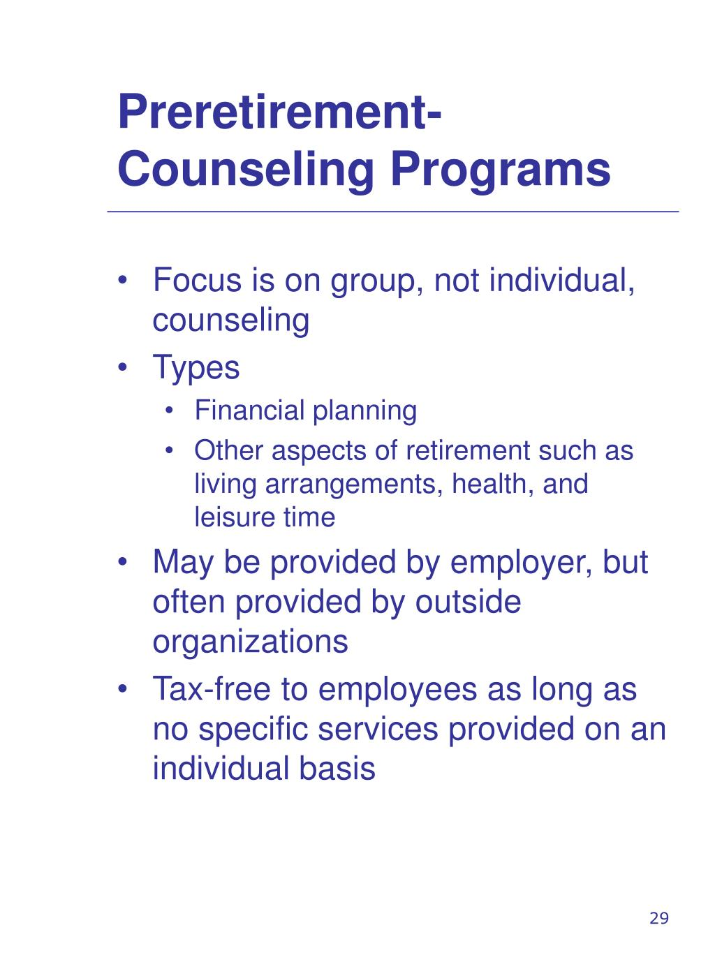 Preretirement-Counseling Programs