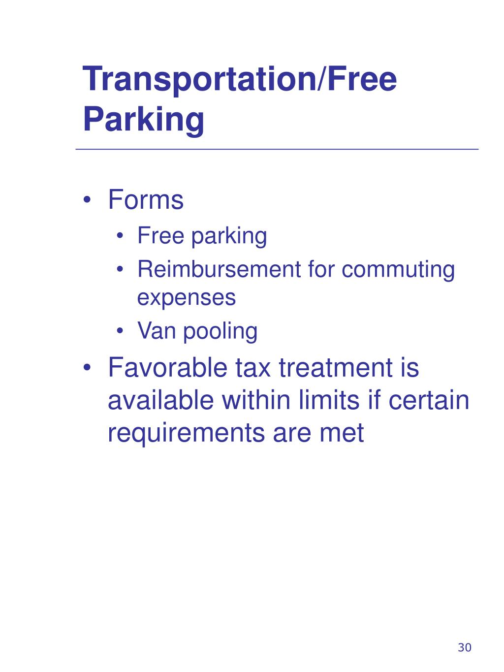 Transportation/Free Parking