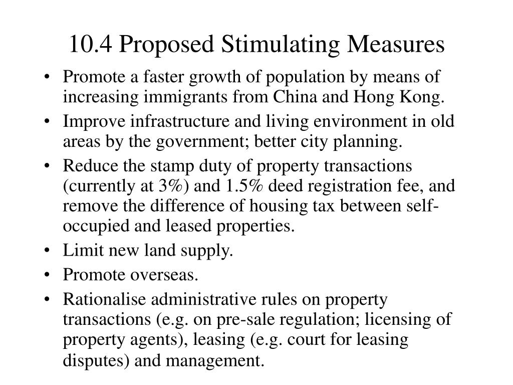 10.4 Proposed Stimulating Measures
