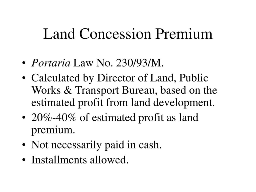 Land Concession Premium