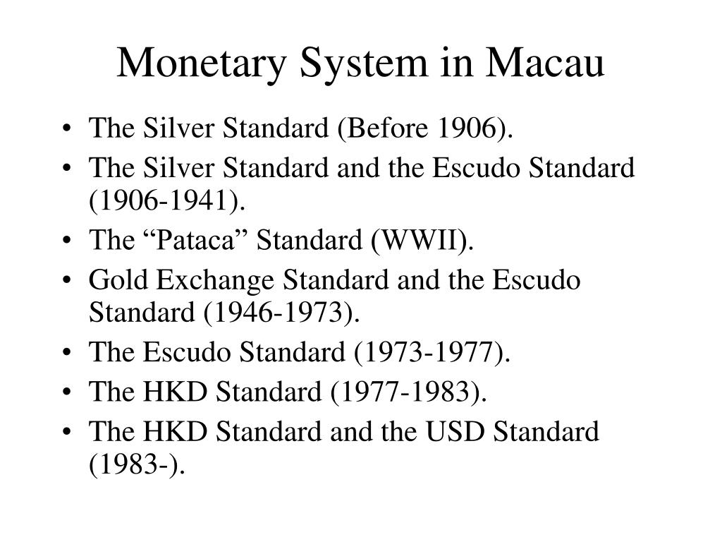 Monetary System in Macau
