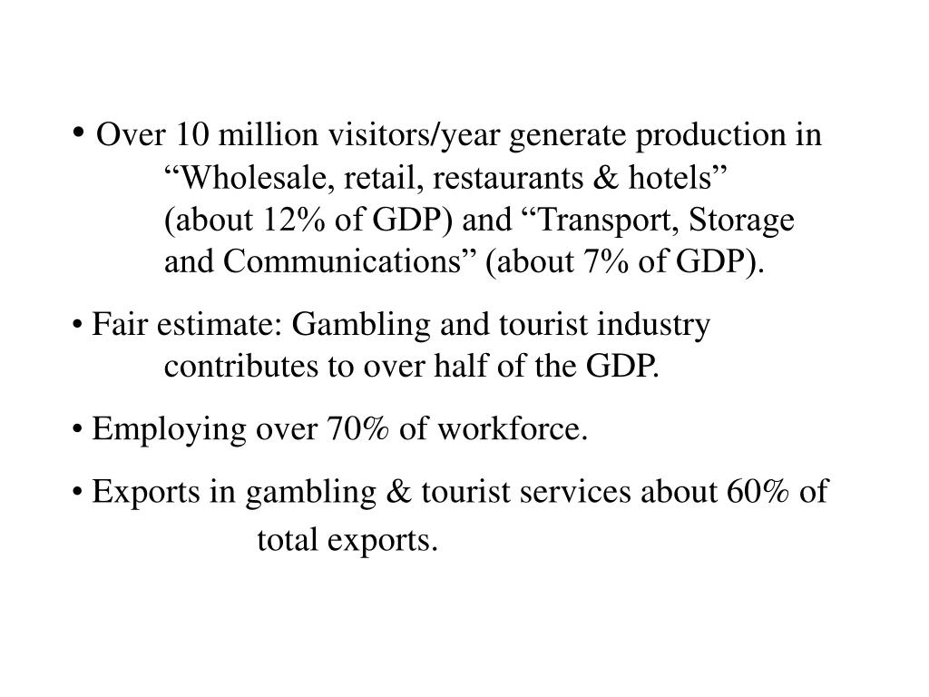 "Over 10 million visitors/year generate production in 	""Wholesale, retail, restaurants & hotels"" 		(about 12% of GDP) and ""Transport, Storage 		and Communications"" (about 7% of GDP)."