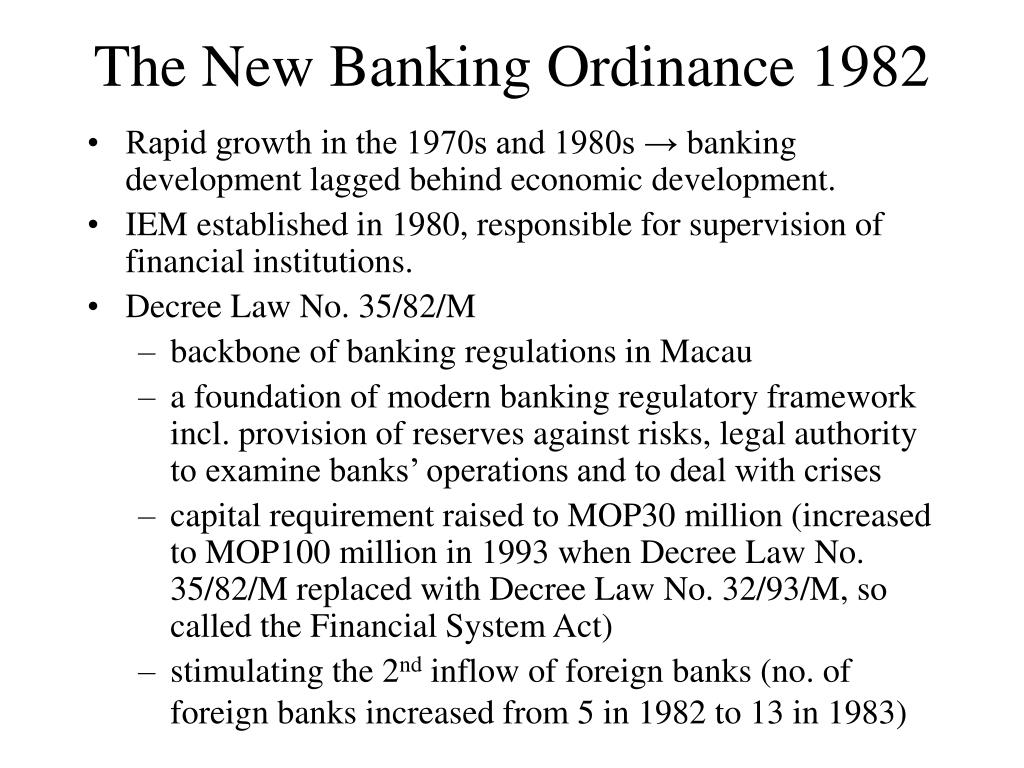 The New Banking Ordinance 1982