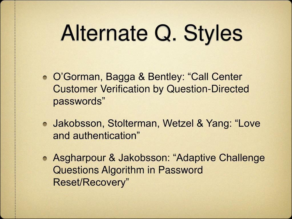 Alternate Q. Styles
